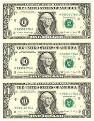 FEUILLE DE 3 BILLETS DE 1 DOLLAR AMERICAIN