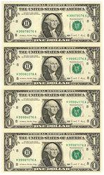 FEUILLE DE 4 BILLETS DE 1 DOLLAR AMERICAIN