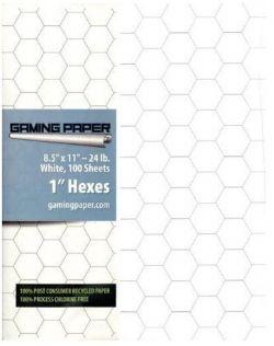 GAMING PAPER -  BLANC - HEXAGONE DE 2.5CM (100 FEUILLES)