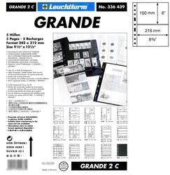 GRANDE -  FEUILLE DE CLASSEMENT CLAIRE, 2 BANDES, PAQUET DE 5 FEUILLES