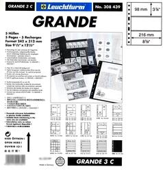GRANDE -  FEUILLE DE CLASSEMENT CLAIRE, 3 BANDES, PAQUET DE 5 FEUILLES