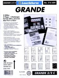 GRANDE -  FEUILLE DE CLASSEMENT CLAIRE, 6 CASES, PAQUET DE 5 FEUILLES