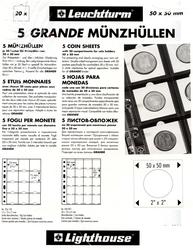 GRANDE -  FEUILLES DE 20 POCHETTES (PAQUET DE 5 FEUILLES)