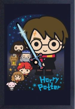 HARRY POTTER -  IMAGE ENCADRÉE - KAWAII (33 CM X 48 CM)