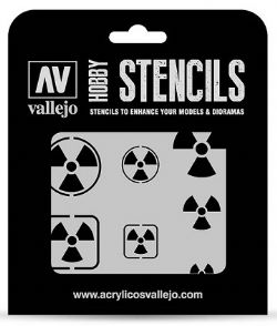 HOBBY STENCILS -  RADIOACTIVITY SIGNS (125 X 125MM)