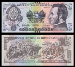 HONDURAS -  5 LEMPIRAS 2012 (UNC)