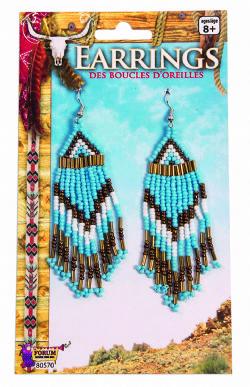 INDIENS -  BOUCLES D'OREILLES EN PERLES - BLEU