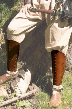 JAMBIÈRES -  PROTÈGE TIBIA ÉCUYER EN CUIR - BRUN (MOYEN)