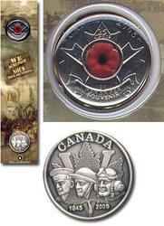 LE JOUR DU SOUVENIR -  SIGNET AVEC PIÈCE DE 25 CENTS DU COQUELICOT ET PIN COMMÉMORATIVE -  PIÈCES DU CANADA 2005