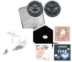 LE SOUVENIR OFFICIEL DU MILLENAIRE DE POSTES CANADA -  PIÈCES DU CANADA 1999-2000