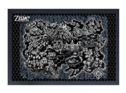 LEGEND OF ZELDA, THE -  IMAGE ENCADRÉE LINK'S AWAKENING BLACK MAP (33 CM X 48 CM)