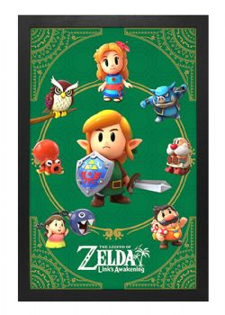 LEGEND OF ZELDA, THE -  IMAGE ENCADRÉE LINK'S AWAKENING - PERSONNAGES (33 CM X 48 CM)