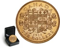 LES PREMIERES PIECES D'OR CANADIENNES -  PIÈCE DE 10 DOLLARS EN OR 1912 SÉLECTIONNÉE INDIVIDUELLEMENT -  PIÈCES DU CANADA 1912
