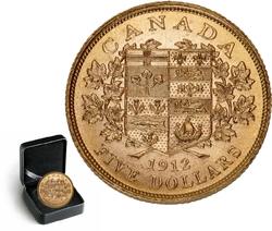 LES PREMIERES PIECES D'OR CANADIENNES -  PIÈCE DE 5 DOLLARS EN OR 1912 SÉLECTIONNÉE INDIVIDUELLEMENT -  PIÈCES DU CANADA 1912