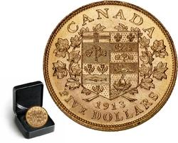 LES PREMIERES PIECES D'OR CANADIENNES -  PIÈCE DE 5 DOLLARS EN OR 1913 SÉLECTIONNÉE INDIVIDUELLEMENT -  PIÈCES DU CANADA 1913