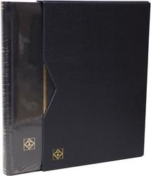 LIGHTHOUSE -  CLASSEUR AVEC BOÎTIER EN CUIR BLEU 16 FEUILLES (32 PAGES NOIRES)