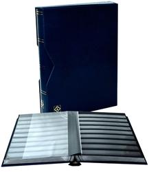 LIGHTHOUSE -  CLASSEUR AVEC BOÎTIER EN CUIR BLEU 32 FEUILLES (64 PAGES NOIRES)