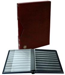 LIGHTHOUSE -  CLASSEUR AVEC BOÎTIER EN CUIR BOURGOGNE 16 FEUILLES (32 PAGES NOIRES)