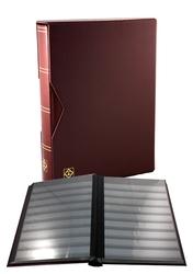 LIGHTHOUSE -  CLASSEUR AVEC BOÎTIER EN CUIR BOURGOGNE 32 FEUILLES (64 PAGES NOIRES)