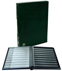 LIGHTHOUSE -  CLASSEUR AVEC BOÎTIER EN CUIR VERT 16 FEUILLES (32 PAGES NOIRES)