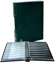 LIGHTHOUSE -  CLASSEUR AVEC BOÎTIER EN CUIR VERT 32 FEUILLES (64 PAGES NOIRES)
