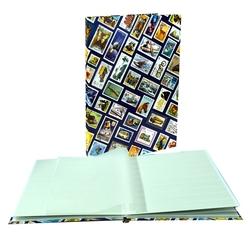 LIGHTHOUSE -  CLASSEUR FOND BLEU AVEC TIMBRES 8 FEUILLES (16 PAGES BLANCHES)