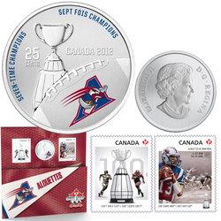 LIGUE CANADIENNE DE FOOTBALL -  ALOUETTES DE MONTRÉAL - ENSEMBLE TIMBRES ET MONNAIE -  PIÈCES DU CANADA 2012 01