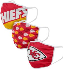 LNF -  MASQUE POUR VISAGE - PAQUET DE 3 -  CHIEFS DE KANSAS CITY