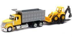 LONG HAUL TRUCKER -  INTERNATIONAL DUMP TRUCK W/ WHEEL LOADER - JAUNE