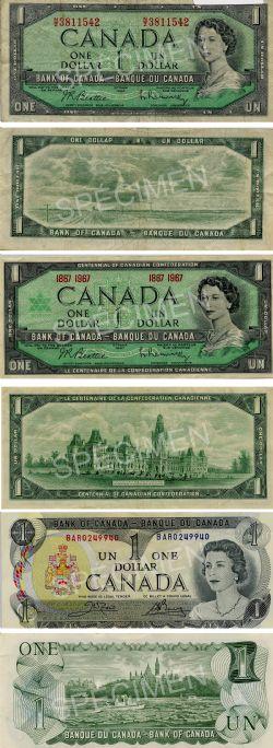 LOT DE BILLETS CANADIENS -  1 DOLLAR DE 1954 PORTRAIT MODIFIÉ, 1967 ET 1973