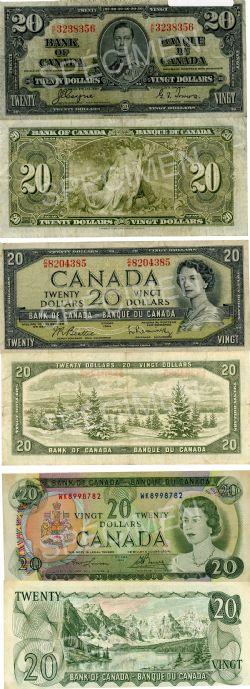 LOT DE BILLETS CANADIENS -  20 DOLLARS DE 1937, 1954 PORTRAIT MODIFIÉ ET 1969