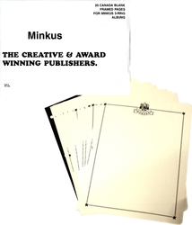 MINKUS CANADA -  PAGES BLANCHES POUR ALBUM 3 POTEAUX (PQT DE 20)