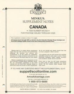 MINKUS CANADA -  SUPPLÉMENT 2020 - OFFICIEL (SANS POCHETTES)