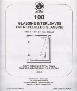 MINKUS -  ENTREFEUILLES DE GLASSINE POUR ALBUMS MINKUS À 2 POTEAUX - PAQUET DE 100