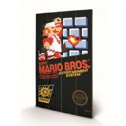 NINTENDO -  IMAGE SUR BOIS SUPER MARIO BROS JAQUETTE NES (20 CM X 29.5 CM)