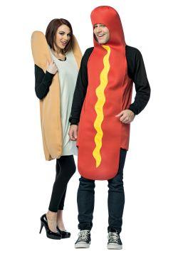 NOURRITURE -  COSTUME DE COUPLE HOT-DOG & PAIN (ADULTE - TAILLE UNIQUE)