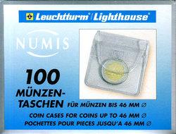 NUMIS -  POCHETTES DE PLASTIQUE POUR PIÈCES JUSQU'À 46 MM (PAQUET DE 100)