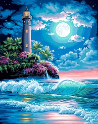 PAINT WORKS -  PHARE AU CLAIR DE LUNE (41 CM X 51 CM)