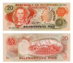 PHILIPPINES -  20 PISO 1974-1985 (UNC)