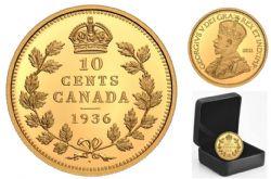 PIÈCES LES PLUS RARES DU CANADA -  PIÈCE DE 10 CENTS DE 1936 MARQUÉE D'UN POINT -  PIÈCES DU CANADA 2021 01