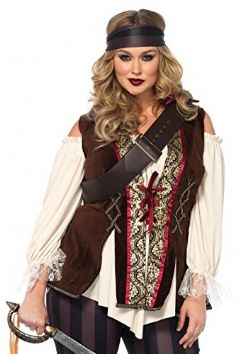 PIRATES -  COSTUME DE CAPITAINE COEUR NOIR (TAILLE FORTE)