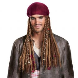 PIRATES DES CARAIBES -  BANDANA AVEC CHEVEUX DE CAPITAINE JACK SPARROW (ADULTE)