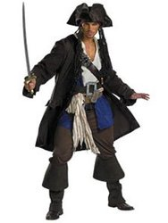 PIRATES DES CARAIBES -  COSTUME PRESTIGE DE CAPITAINE JACK SPARROW 6004