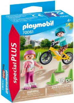PLAYMOBIL -  ENFANTS AVEC VÉLO ET ROLLERS (15 PIÈCES) 70061