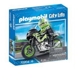 PLAYMOBIL -  PILOTE ET MOTO (4 PIÈCES) 70204