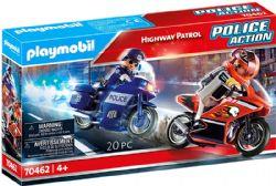 PLAYMOBIL -  POLICIER À MOTO ET MOTARD (20 PIÈCES) 70462