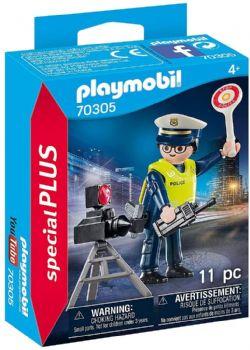 PLAYMOBIL -  POLICIER AVEC RADAR (11 PIÈCES) 70305
