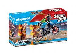 PLAYMOBIL -  STUNTSHOW PILOTE MOTO ET MUR DE FEU (26 PIÈCES) 70553
