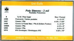 POCHETTES PROTECTRICES -  ENVELOPPES POUR CARTES POSTALES 11.43 CM X 20.32 CM (PAQUET DE 100)