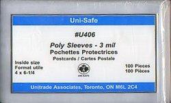 POCHETTES PROTECTRICES -  ENVELOPPES POUR CARTES POSTALES 16 CM X 9.5 CM (PAQUET DE 100)